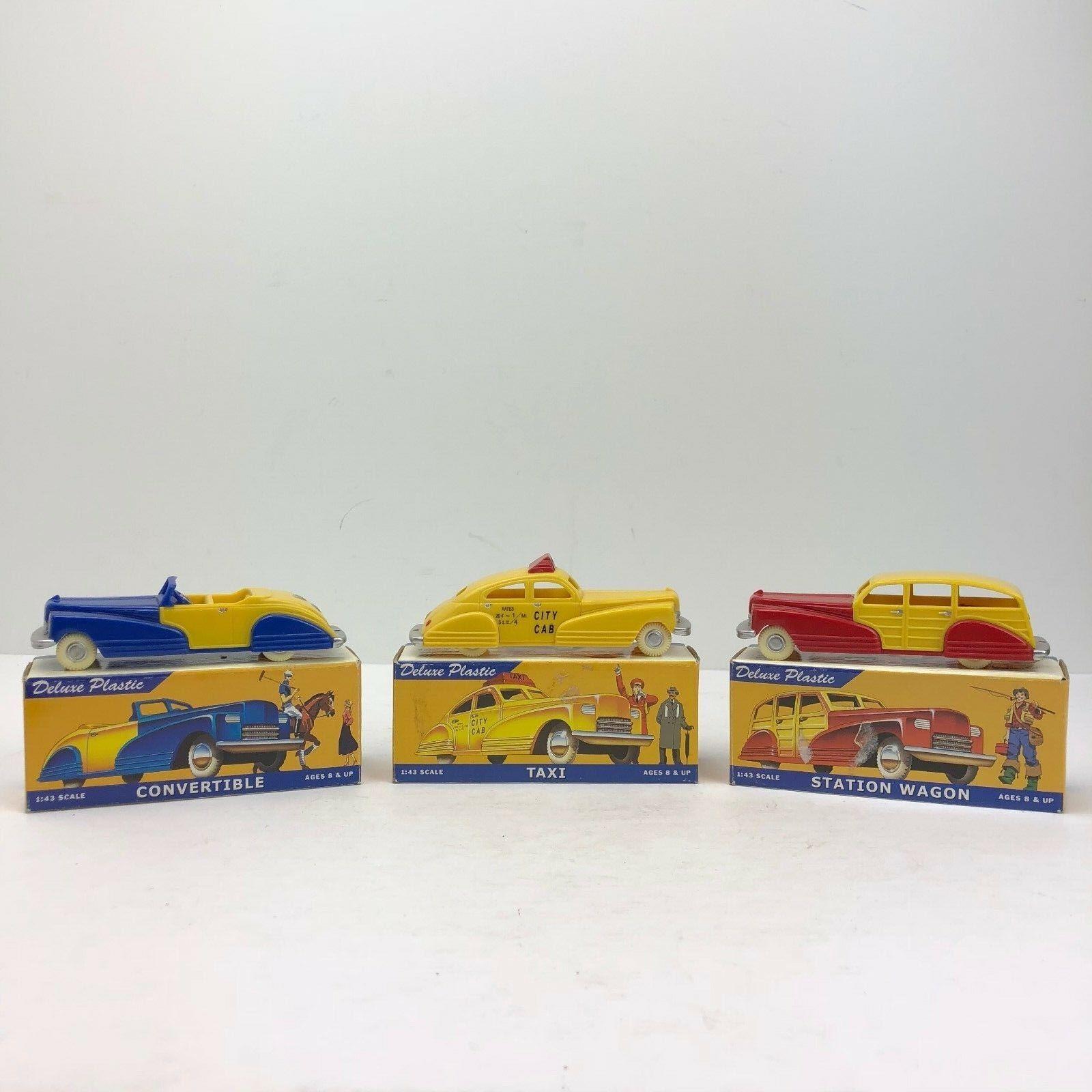 Lot of 3 Binary Binary Binary Arts Deluxe Plastic Cars Congreenible, Taxi, Station Wagon - NIB 0d1343