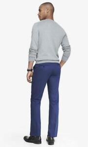 Nuevo Para Hombres Calce Ajustado Pantalones De Vestir Express Stretch Pantalones Azul 34 X 34 Ebay