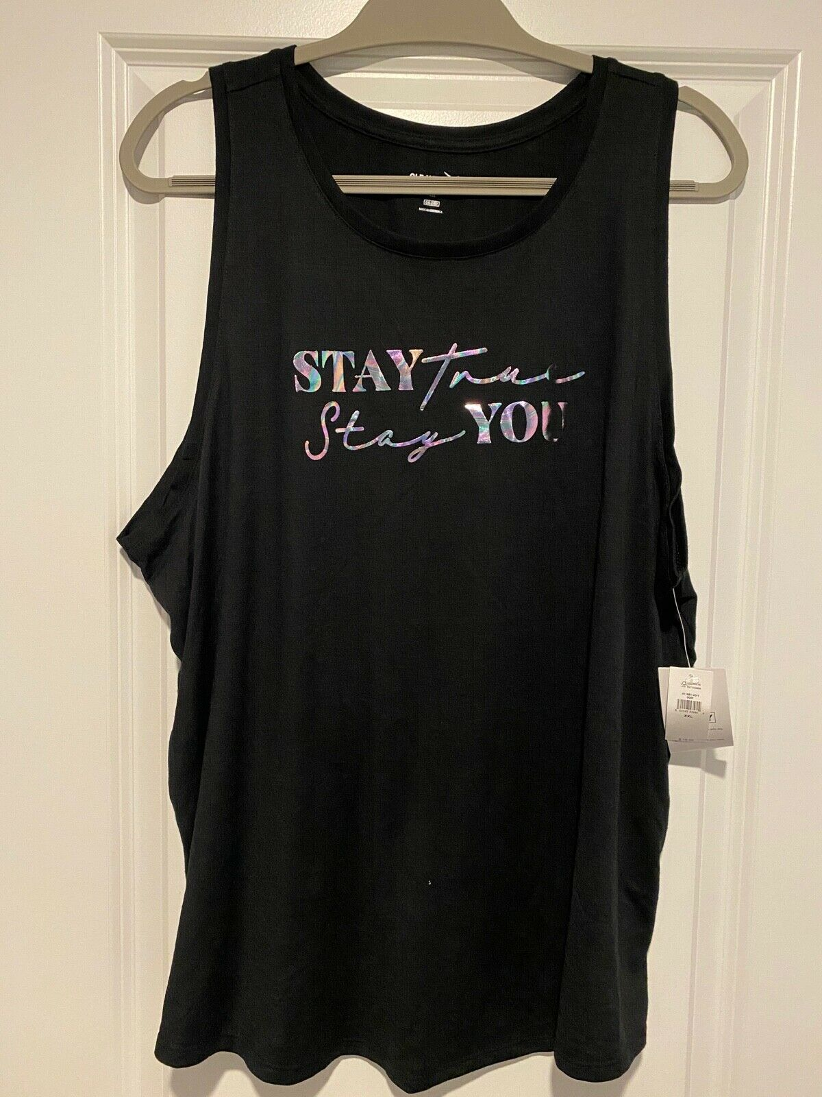 Old Navy Graphic Muscle Tank Top Stay True Stay You Womens Black Size XXL