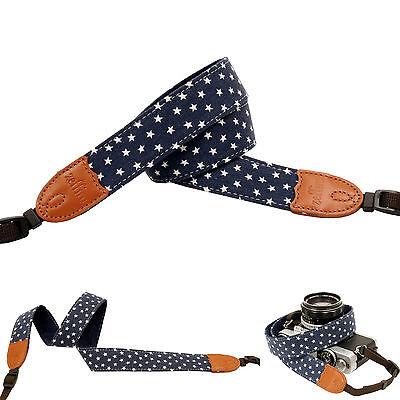 Navy color stars print Fashion Camera Neck Shoulder Strap for Film SLR DSLR RF