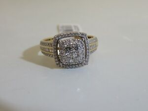 a0b61e1fee685 14K YELLOW GOLD 1 CTTW CUSHION CLUSTER DIAMOND BY AFFINITY RING Size ...