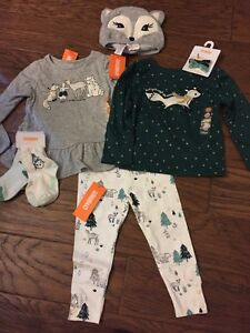 NWT Gymboree Baby Girl Green Gold Deer Snow Holiday Outfit 7-piece SET 18 24 Hat