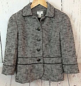 57f1a7dcf549 Ann Taylor LOFT Women's Clothing Black Tweed Blazer Jacket Work ...
