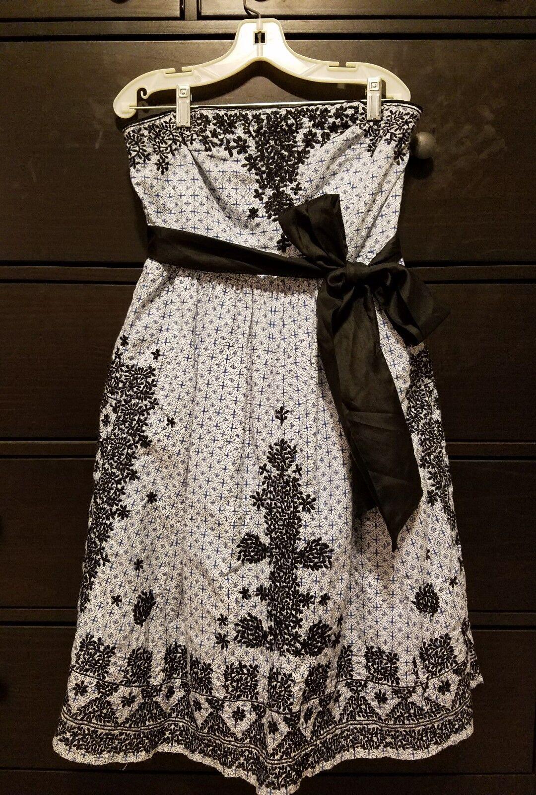 Anthropologie Moulinette Soeurs bluee Navy Embroidered Strapless Dress Sash Sz 4