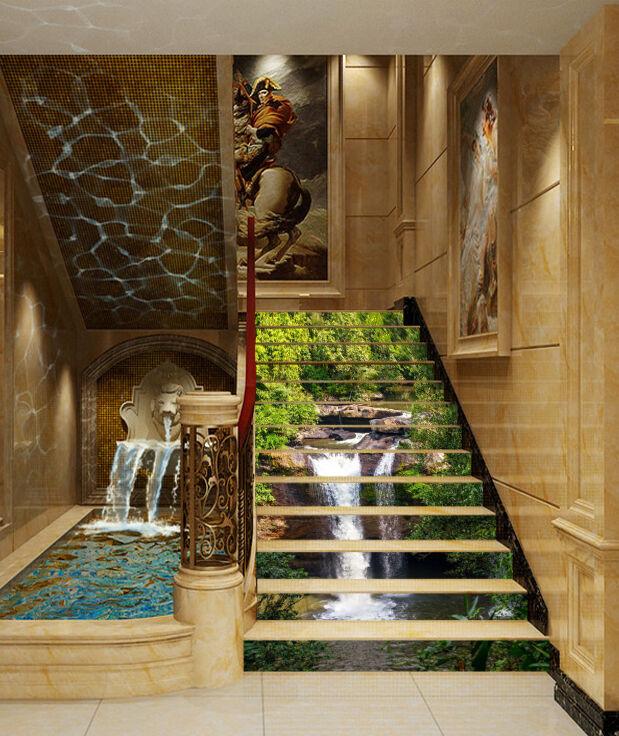 3D Wasserfall 463 Stair Risers Dekoration Fototapete Vinyl Aufkleber Tapete DE