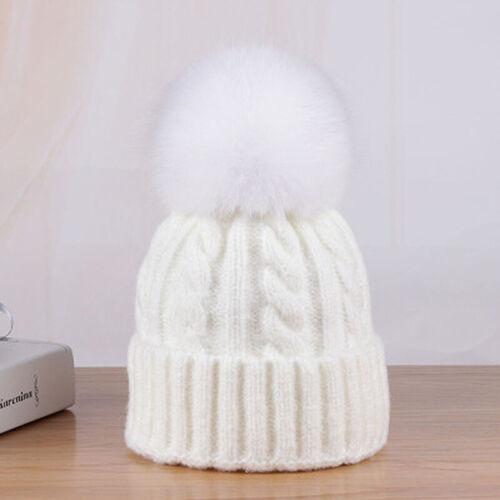 Women Cashmere Blend Knit Beanie Hat Real Fox Fur Pompom Ears Winter Slouchy Cap
