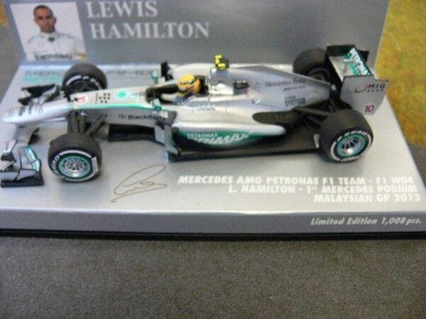 100% nuovo di zecca con qualità originale 1 43 Minichamps Mercedes AMG Petronas Petronas Petronas Hamilton Malaysian GP 2013  ultimi stili