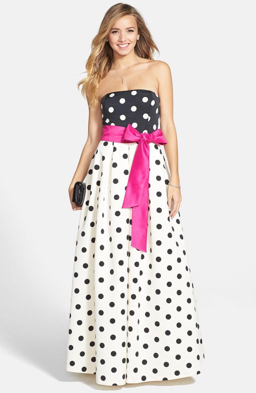 Eliza J Polka Dot Faile A - Line Gown Dress Storlek 6