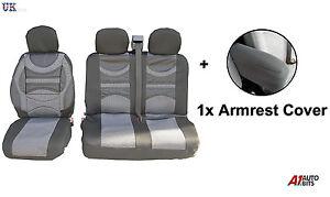 Gris Premium Tela Seat Apoyabrazos Funda para Renault Trafic Master Van
