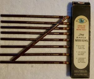 Vintage-Eagle-Verithin-Carmine-Red-2745-9-Colored-Pencils-MADE-IN-USA-open-box