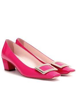 Roger-Vivier-Pink-Decollete-Belle-Patent-Leather-Pumps-Size-37-US-7