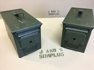 Lot-of-2-Ammo-Cans-US-Army-Military-M2A1-50-Cal-Ammunition-Metal-Storage-5-56MM