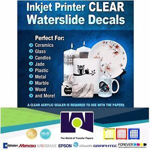 INKJET-Waterslide-DECAL-CLEAR-Paper-30-Sheets-8-5x11-WATER-SLIDE-Transfer-Paper