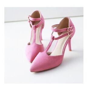 Décollte Scarpe decolte donna spillo tacco 8.5 cm stiletto rosa cinturino 8690
