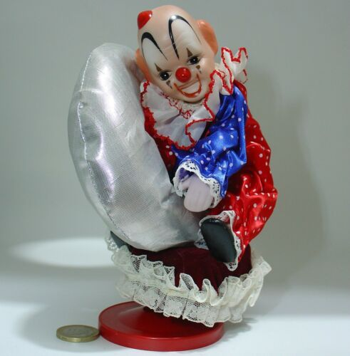 carillon Clown Porzellan VINTAGE ANNI 80 Clown Music Box Wind-Up & Drehen Spieldosen
