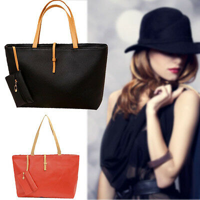 Women Handbag Leather Shoulder Bag Tote Messenger Hobo Bags+Mini Change Purse