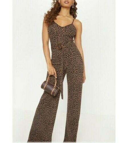 PRETTY LITTLE THING Tan Leopard Print Ring Belt Jumpsuit JO36