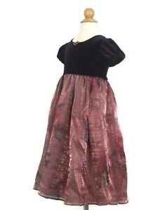 Marmellata-Short-Sleeve-Party-Dress-Size-5-Velour-Black-Copper-Floral-Holiday