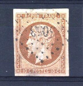 FRANCE-STAMP-TIMBRE-9-034-LOUIS-NAPOLEON-10c-BISTRE-1852-034-OBLITERE-TB-A-VOIR-T125