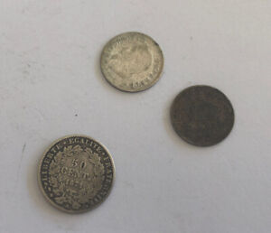 Set 3 Pieces Silver France 20 CENTIMES 1866 A 67 BB And 50 Hundred 1871 REF64717
