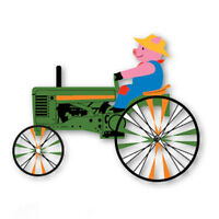 Pig On A Green Tractor Staked 22 (approx) Wind Spinner Pole & Mount Pr 26848
