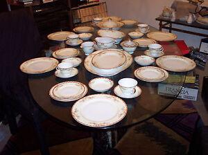 Image is loading Vintage-Grace-Ogden-Pattern-Fine-China-Dinnerware-Set- & Vintage Grace Ogden Pattern Fine China Dinnerware Set 80 Pieces Made ...