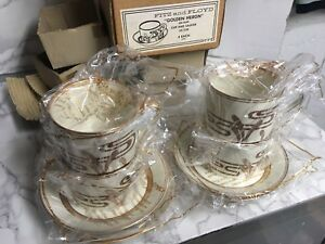 Fitz-amp-Floyd-Golden-Heron-On-Buff-4-Cup-Saucer-Sets-NOS-Fine-Porcelain