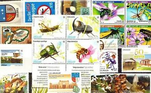 DISCOVER-URUGUAY-SELECTED-19-insect-bee-ant-beetle-mosquito-fauna-STAMPS-MNH
