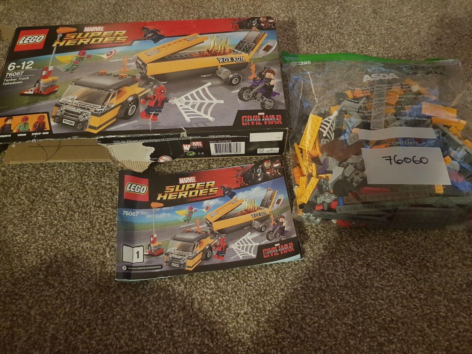 LEGO Super Super Super Heroes 76067 Tanker Truck Takedown Complete Vision  Spiderman Hawkeye 846bc1