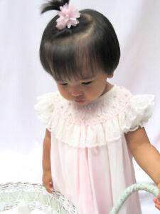 NWT-Will-039-beth-Cream-Pink-Sheer-Smocked-Bishop-Lace-Dress-Newborn-0-Baby-Girls