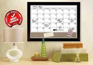 Whiteboard Calendar Magnetic Dry Erase Board Cork Wood Wall Decor ...
