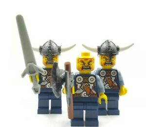 Lego-Mini-Figure-Minifigure-3-Bearded-Blue-Viking-Pawn-Warriors-w-Accessories