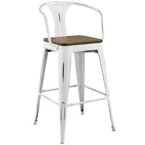 Magnificent Details About Country Farm Vintage Lounge Distressed Bar Stool Chair Metal Wood White 13898 Caraccident5 Cool Chair Designs And Ideas Caraccident5Info