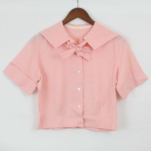 VTG 1940s 30s Blouse Pink White Gingham Cropped Bo