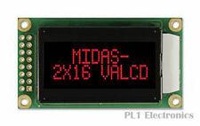MIDAS    MC20805A12W-VNMLR    Alphanumeric LCD Display, 16, 8 x 2, Red, 5.56 mm,