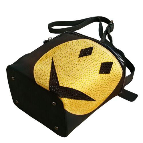 Schwarz Steine Handtasche Smiley Strass Tasche Gelb Kunstleder manntasche Aus w8aqra4X