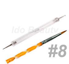 Assorted colour Acrylic Brush #8 + Nail Dotting Tool Art Pen Nails Gel Sculpture