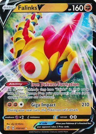 Ultra Rare Rebel Clash Pokemon NM Falinks V 110//192