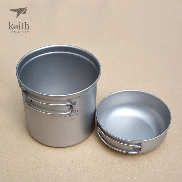 Camping Picnic Titanium Cooking Pot Pan Bowl w Handle Cookware 2Pcs Set 0.4+1.2L
