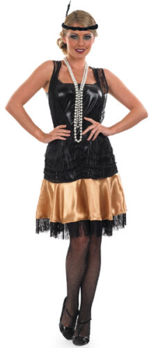 Femme Noir Charleston Années 20 tambour fille fantaisie robe Costume Outfit UK 8-10