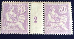 France-N-128-30-C-Violet-Paire-Millesime-2-Neuf-TB-Qualite-Choix-Cote-2300