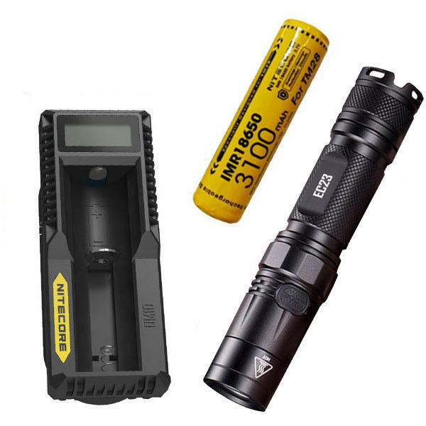 Combo: Nitecore EC23 Flashlight & w/1x 10A 3100mAh  Battery & Flashlight UM10 Charger 2f62fb