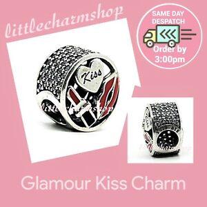 New-Authentic-Genuine-PANDORA-Silver-Glamour-Kiss-Charm-796324ENMX-RETIRED