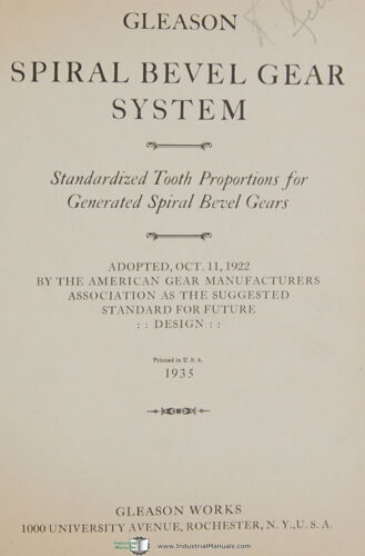 Gleason  Beveled Gear System Tooth Proportion 10-30 per pinion Manual 1935