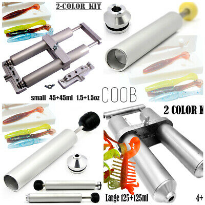 Aluminium Injector for Soft Lure Bait Mold Fishing Plastisol Dual Color Hand Kit
