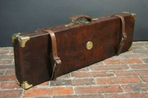 Antique-Oak-Lined-Single-Gun-Case-With-Key