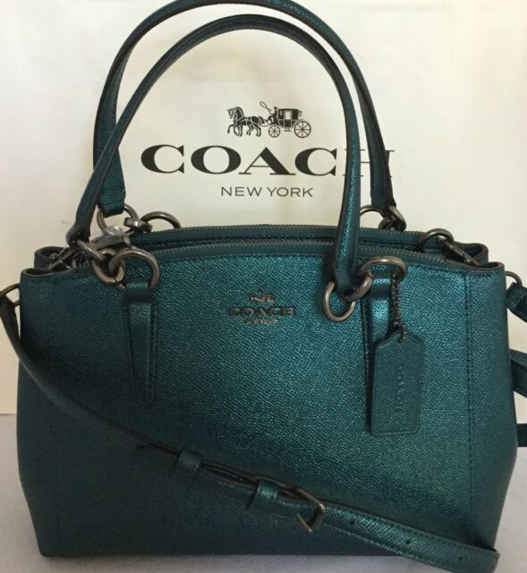 6bcab358c COACH F23337 MINI CHRISTIE CARRYALL METALLIC CROSSGRAIN LEATHER DARK TEAL  NWT