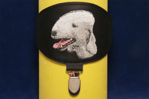 For dog shows. Bedlington Terrier arm band ring number holder with clip