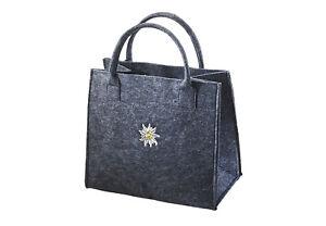 Einkaufstasche-Filz-Stoff-Tasche-Shopper-Filztasche-Einkaufs-Korb-grau-Edelweiss