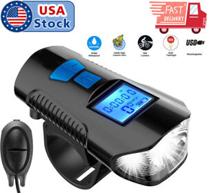 USA-USB-Rechargeable-LED-Bike-Front-Light-Headlight-Horn-Bell-Odometer-New